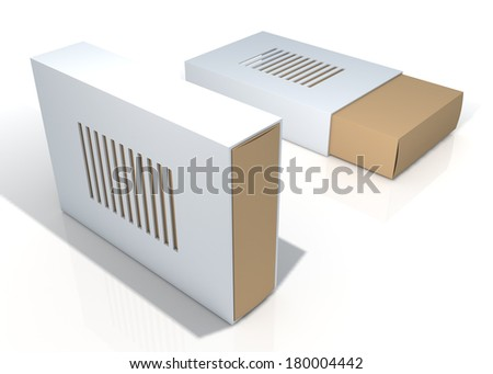 3d original brown and clean white container blank template and cut off cover for design as cage, in isolated background with work paths, clipping paths included - stock photo