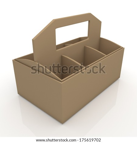 3d original brown beverage bottles box and partition packaging hexagon box and lids for blank template products in isolated background with clipping paths, work paths included  - stock photo