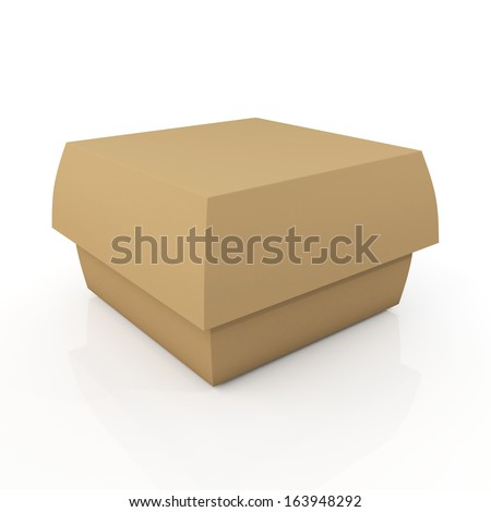3d original brown carton box container fast food, snack, French fries, Hamburger blank template in isolated background with work paths, clipping paths included  - stock photo