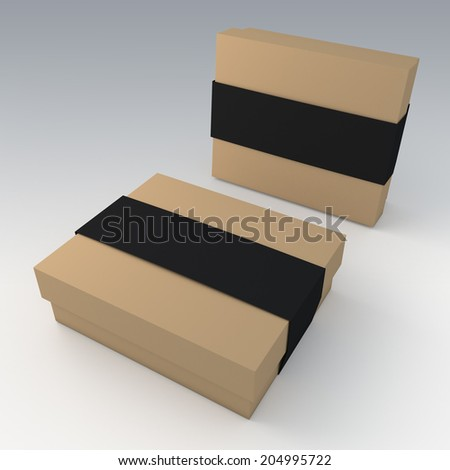3D original brown garment or leather products packaging and matte black jacket label ring in isolated with work paths, clipping paths included - stock photo