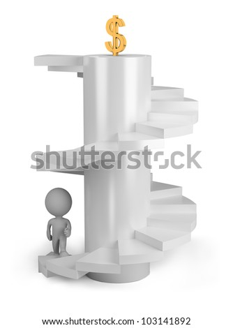3d p?rs?n climbs the stairs to the top. 3d image. Isolated white background. - stock photo