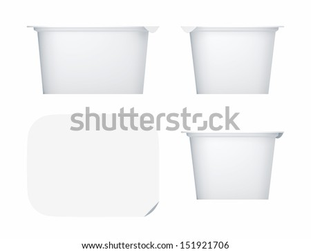 3D Package Plastic container for yoghurt, isolated - stock photo