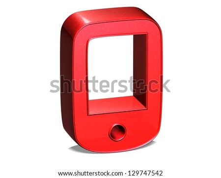3D Pad Red Sign on white background - stock photo