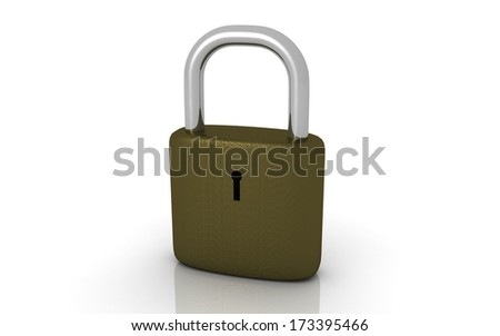 3d Padlock on a white background. - stock photo