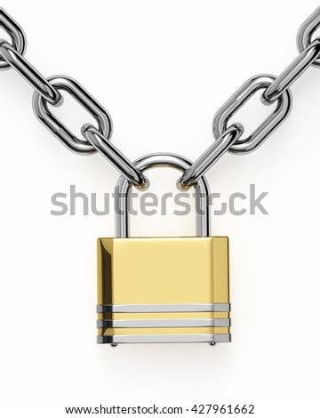 3D padlock with chain isolated over white background - stock photo