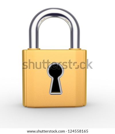 3d padlock with keyhole. 3d render