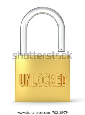 3d padlock with logo UNLOCKED - stock photo