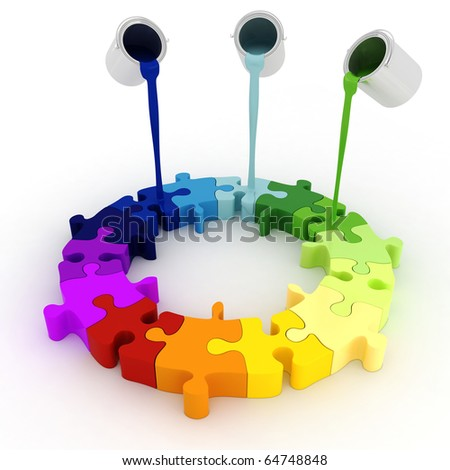 3d paint buckets drop over puzzle pieces - stock photo