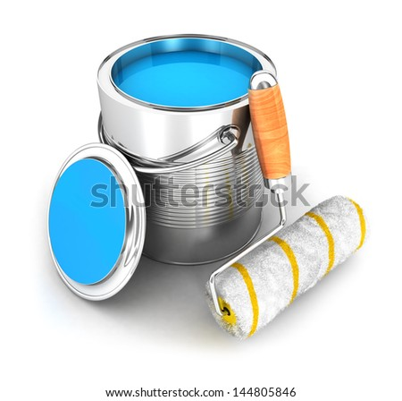 3d paint can and a roller brush, isolated white background, 3d image - stock photo
