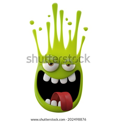 3D paint object, falling drop, color splash character, funny design element, expression sticker , isolated on the white background - stock photo