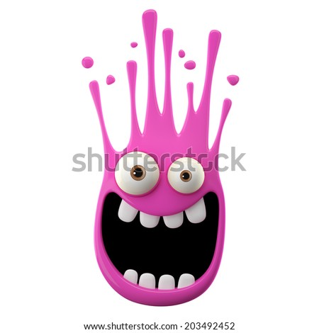 3D paint object, falling pink drop, color splash character, funny design element, expression sticker isolated on the white background  - stock photo