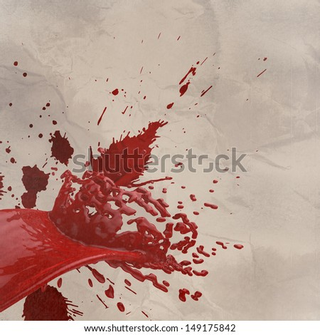 3D paint red color splash isolated on wrinkled paper background