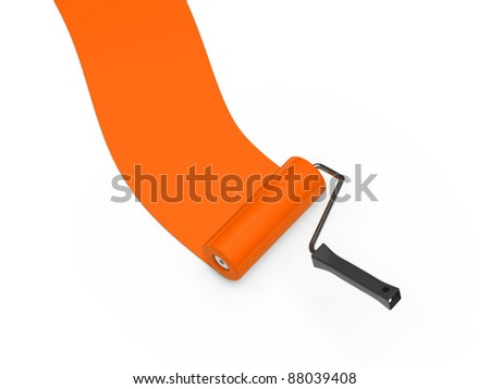 3d paint roller orange color ground white - stock photo