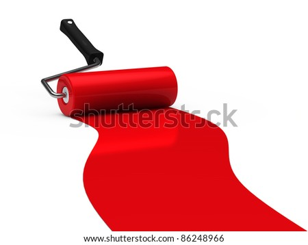 3d paint roller red color ground white - stock photo