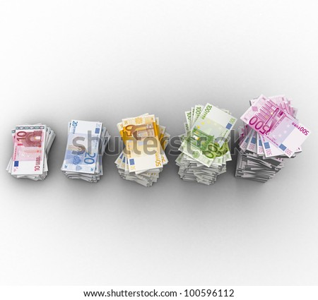 3d paper currency the euro on a white background isolated - stock photo