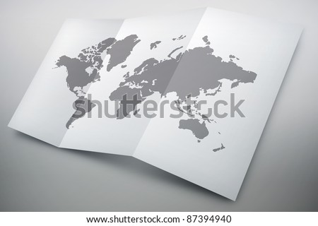 3D paper map isolated