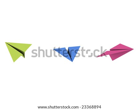 3d paper plane on isolated background