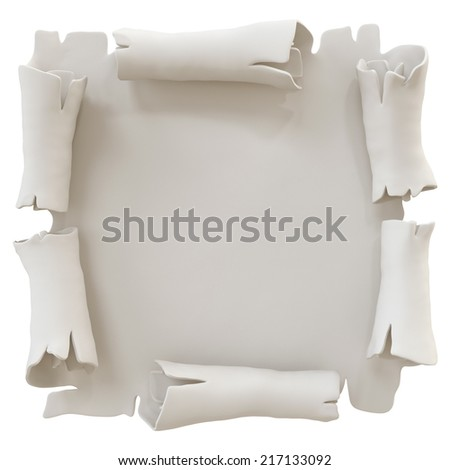 3d parchment banner illustration isolated on white background, manuscript icon - stock photo