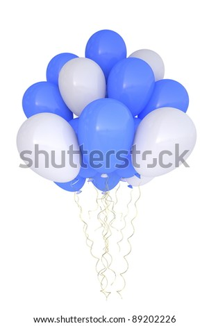 3d party balloons birthday decoration multicolor. Isolated on white background. - stock photo