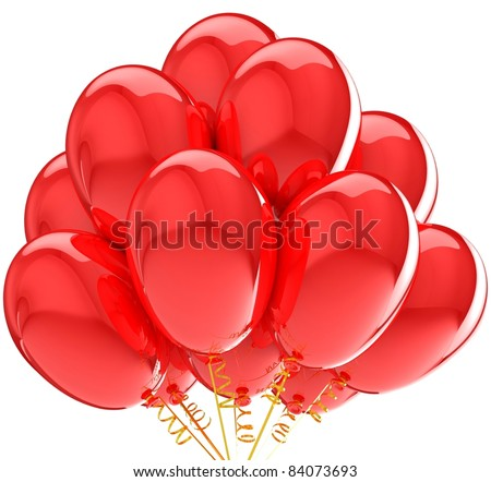 3d party red balloons birthday decoration. Isolated on white background. - stock photo