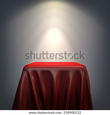 3d pedestal and red fabric on grey background - stock photo