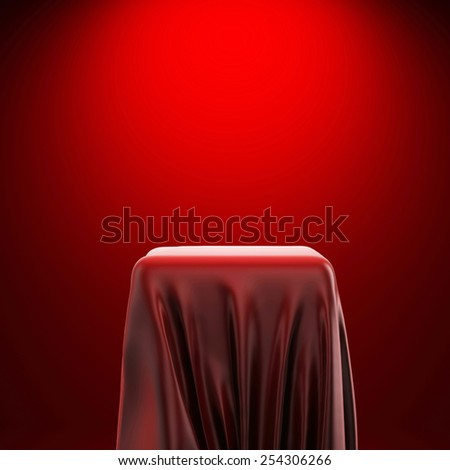 3d pedestal and red fabric on red background - stock photo