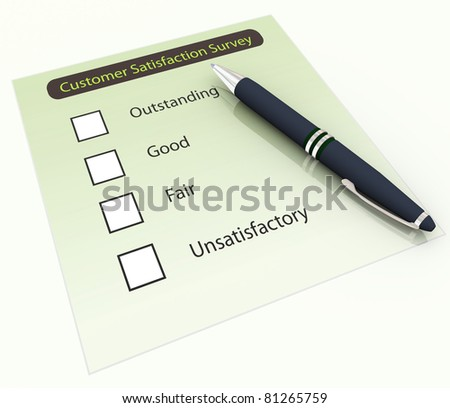 3d pen on the background of customer satisfaction survey Questionnaire - stock photo