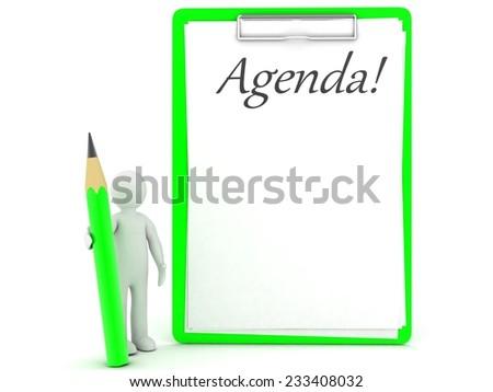 3d people  agenda - stock photo