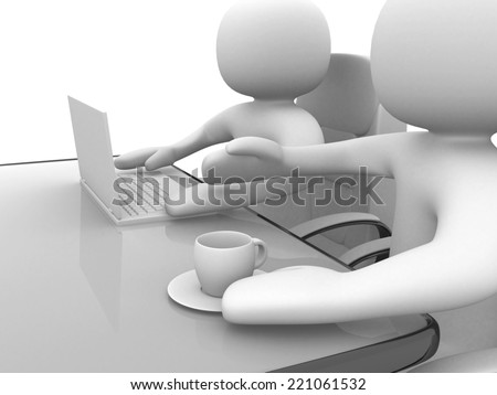 3d people and a laptop at a office. Business partners. 3d render illustration - stock photo