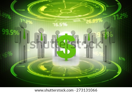 3D people around dollar sign - stock photo