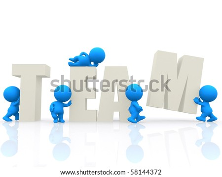 3D people around the word team isolated over a white background