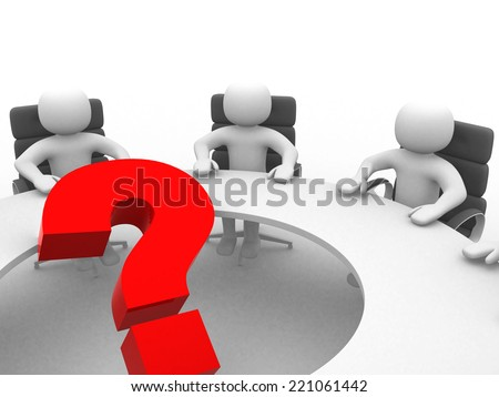 3d people at conference table and question mark- This is a 3d render illustration