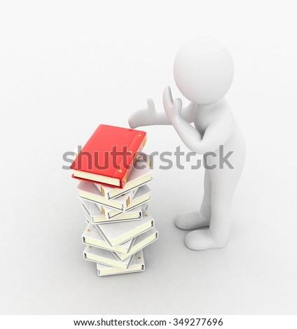 3d people (books) - stock photo