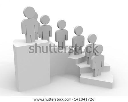 3D people. Career stair concept. 3D illustration