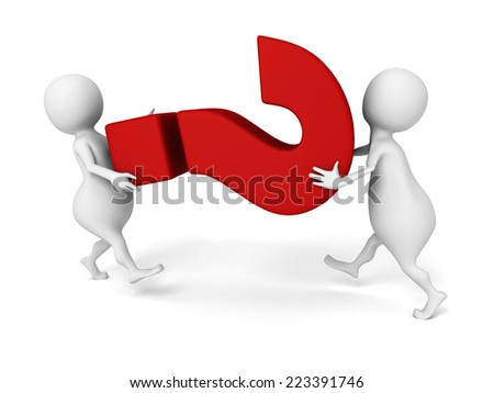 3d people carry big red question mark symbol. 3d render illustration - stock photo