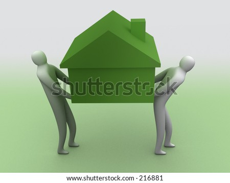 3d people carrying a house. - stock photo