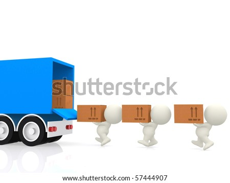 3D people carrying cardboard boxes to a truck - isolated over a white background - stock photo