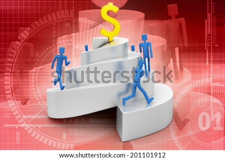 3d people climbing a spiral tower - stock photo