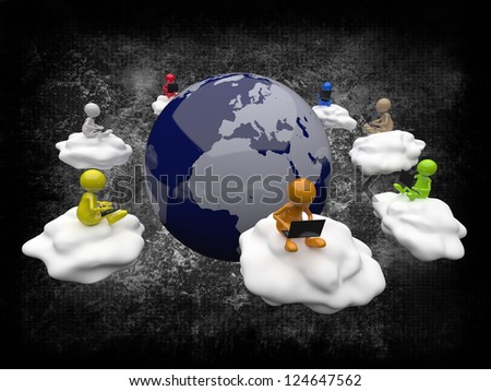 3D People Cloud Computing - stock photo