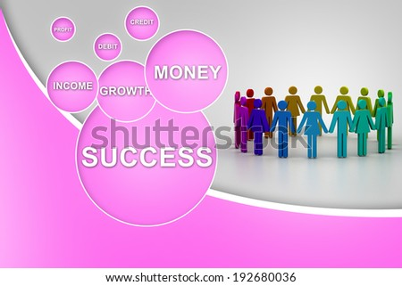 3d people create a circle. Team work concept - stock photo