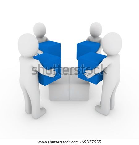 3d people cube box team blue white business - stock photo