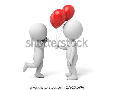3d people give some balloons to the other one. 3d image. Isolated white background - stock photo