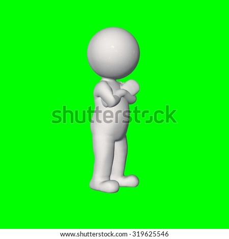 3D people - hand around chest 2 - green screen