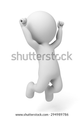 3d people happy jumping for the success with a briefcase. - stock photo