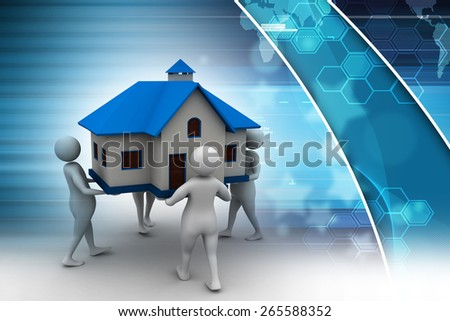 3D people holding a house - stock photo