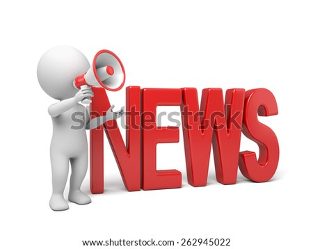 3d people holding a  megaphone, news concept. 3d image. Isolated white background.