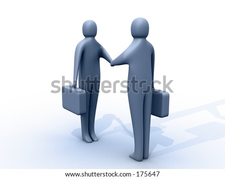 3d people holding briefcases shaking hands.