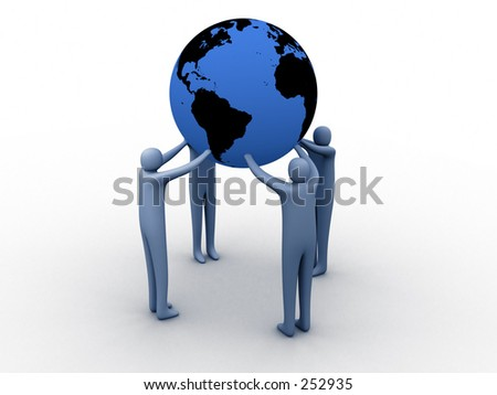 3d people holding earth on their hands.
