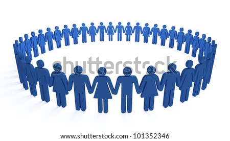 3d people holding hands in a big circle