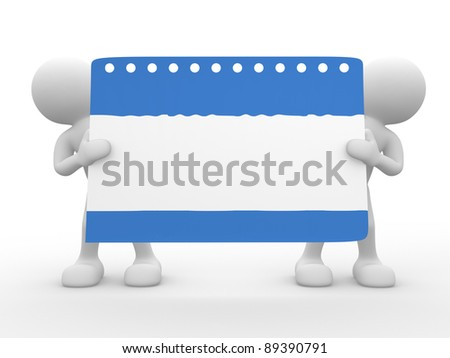 3d people - human character  and an empty calendar page. 3d render illustration - stock photo
